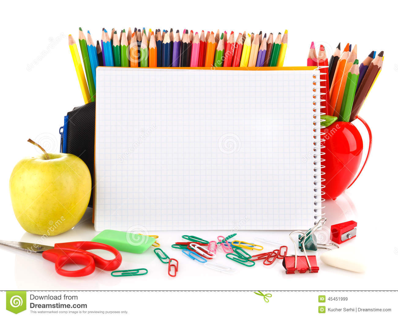 Kucher Notebook With School Stationary Objects Stock Image