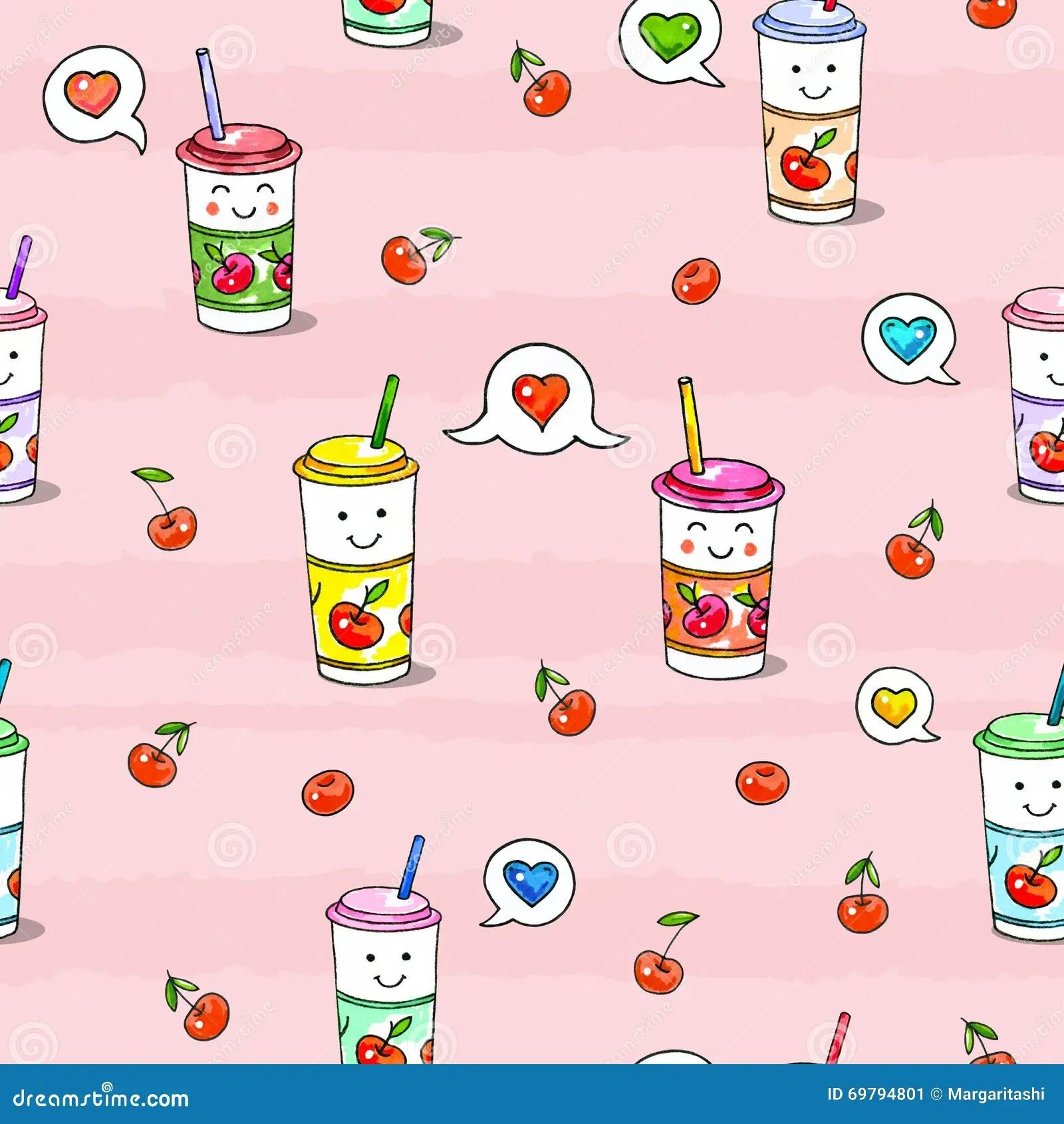 Cute Chinese Cartoon Wallpaper Nourriture De Kawaii Sur Le Fond Rose Dessin De Caract 232 Res