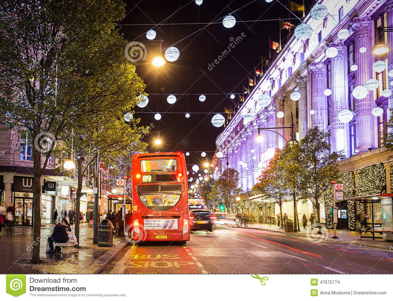 Decoration Noel Londres 13 November 2014 View On Oxford Street, London, Decorated