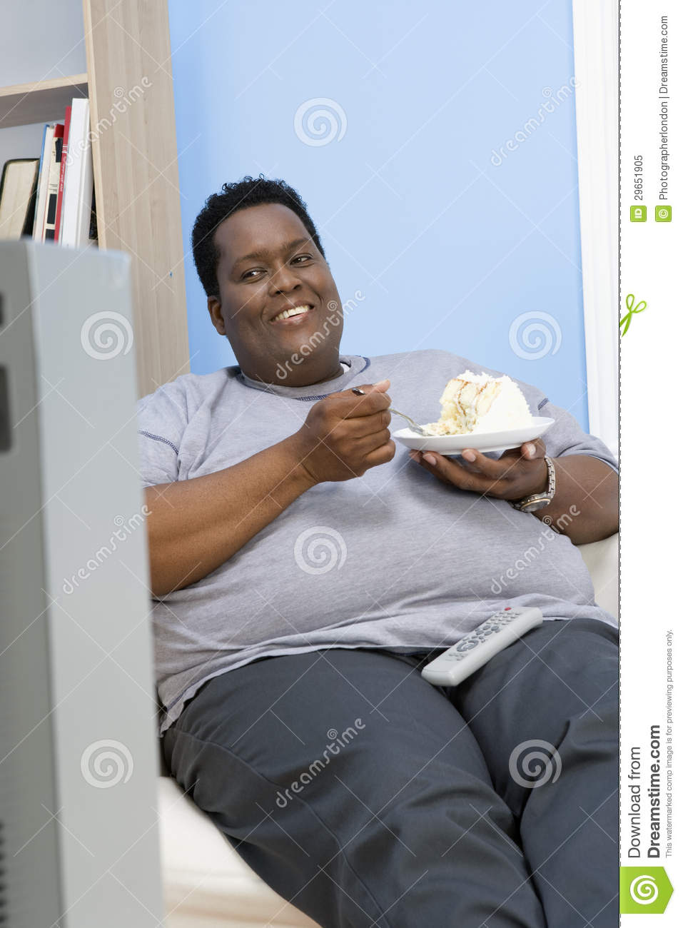 3 Person Couch Obese Man Eating Pastry Royalty Free Stock Photo - Image