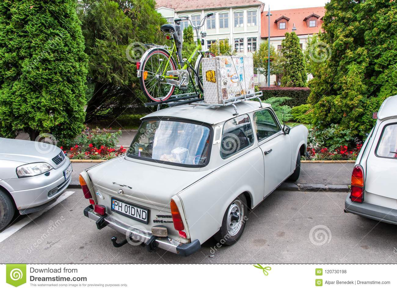 Trabant Clipart Trabant 601 With A Bicycle And Suitcase On Roof Rack Editorial