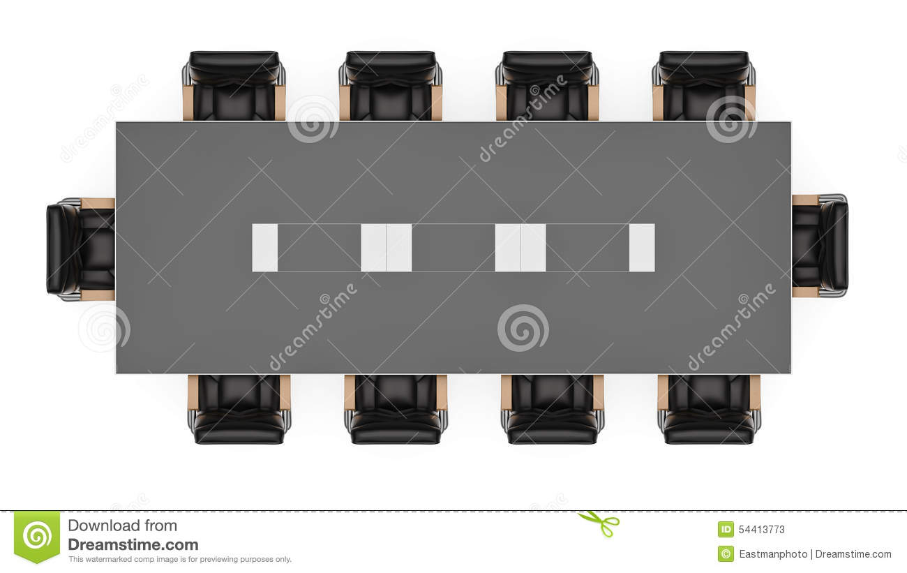 Office Conference Table Birds Eye Stock Illustration