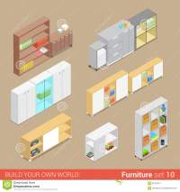 Office Cupboard Folder Shelf Flat Vector Isometric ...