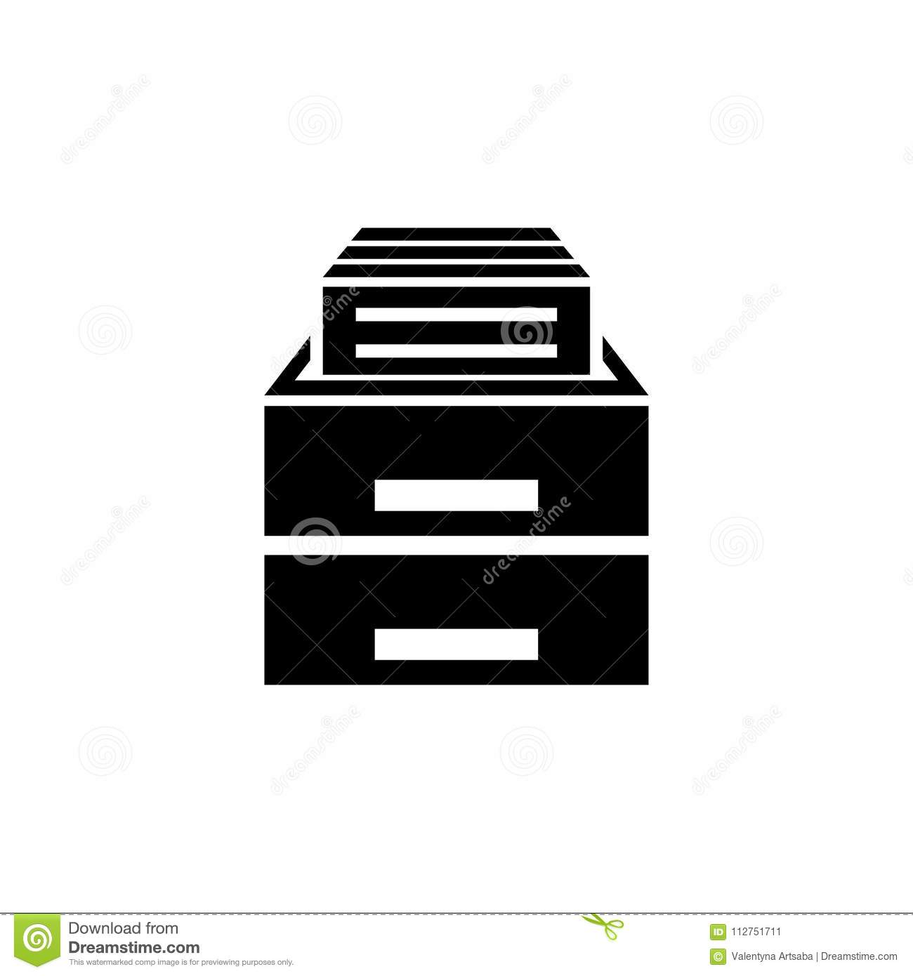 Filing Cabinet Icon Flat Office Drawer Flat Vector Icon Stock Vector Illustration Of File