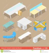 Office Table Flat Isometric Furniture Stock Illustration ...