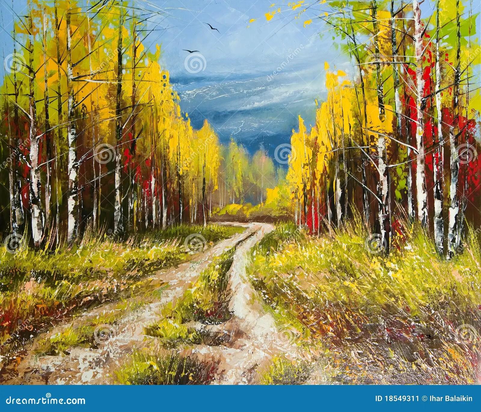 Fall Season Wallpaper Oil Painting Gold Autumn Stock Image Image 18549311
