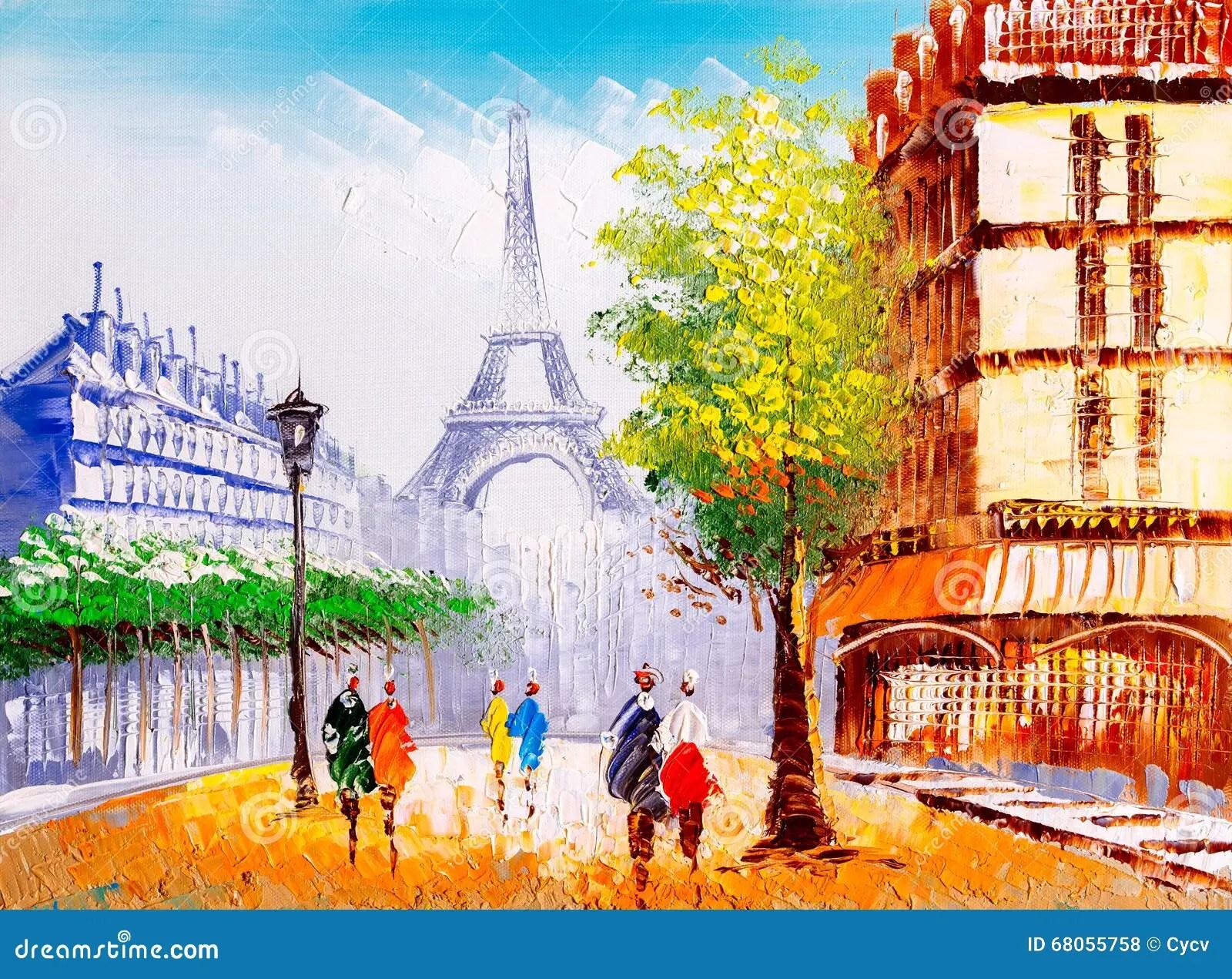 Audio Car Wallpaper Download Oil Painting Street View Of Paris Stock Illustration