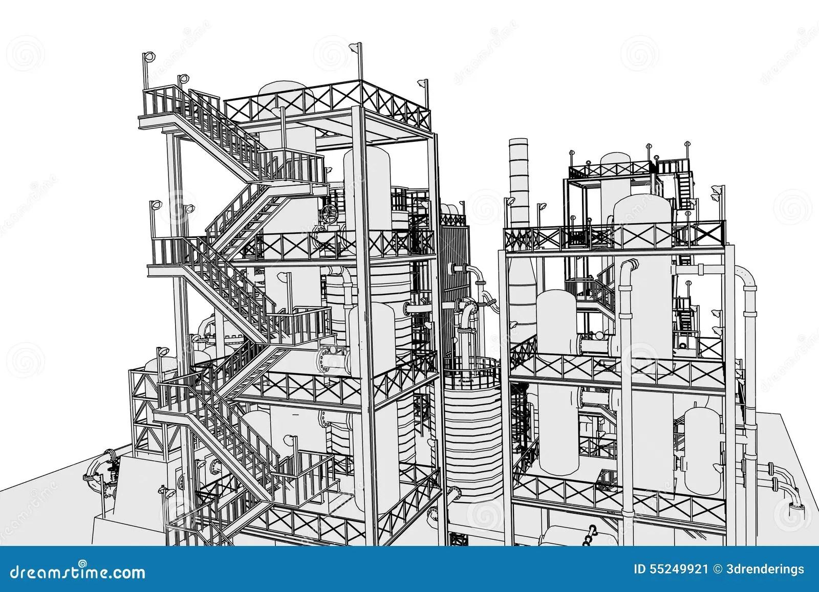 Oil Refinery Stock Illustration Illustration Of Plant
