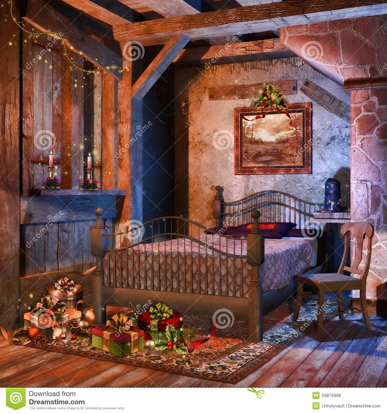Christmas Bedroom Background Old Bedroom With Presents Stock Illustration Illustration