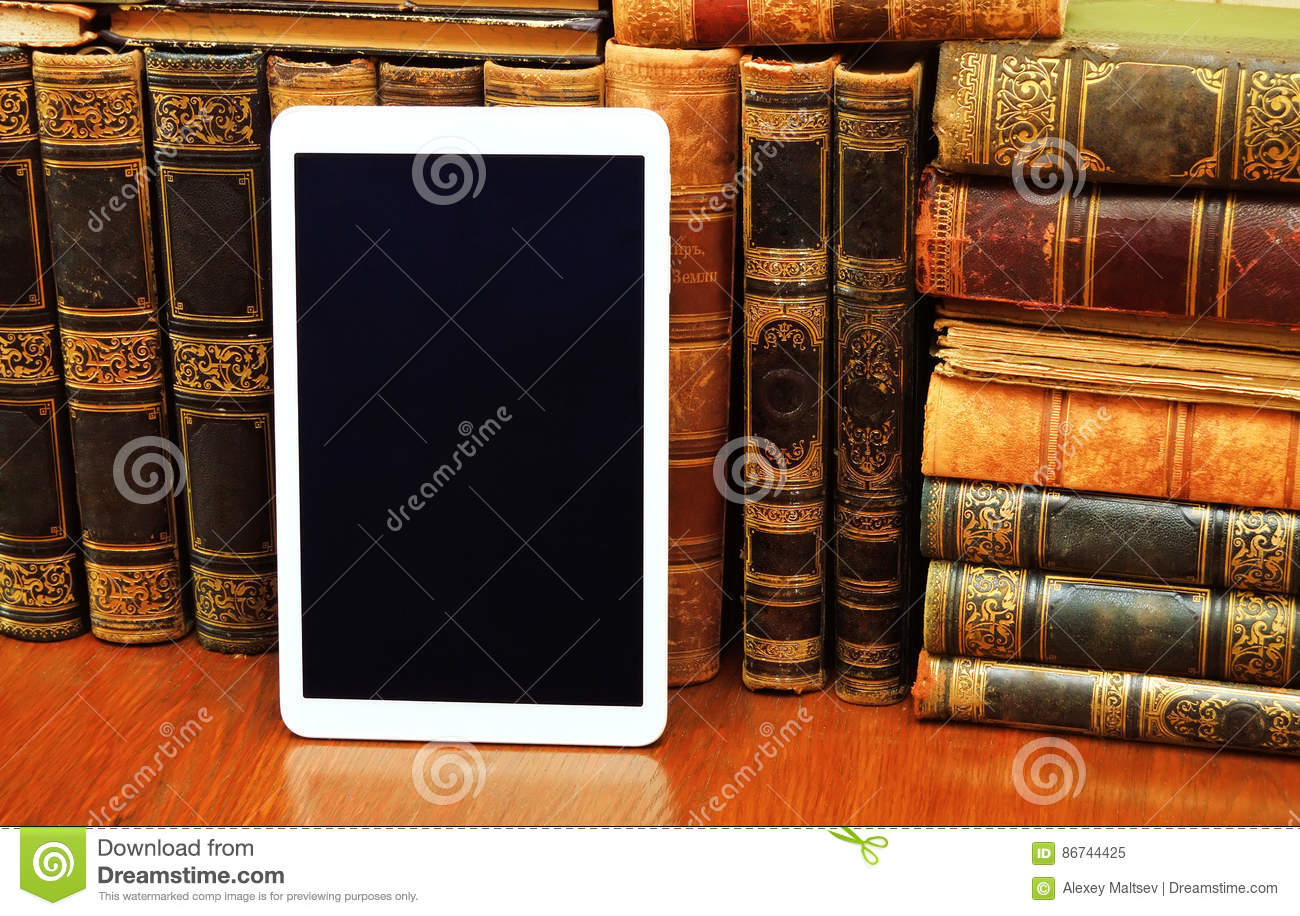 Tablett Modern Books And Modern Tablet Pc Stock Image Cartoondealer