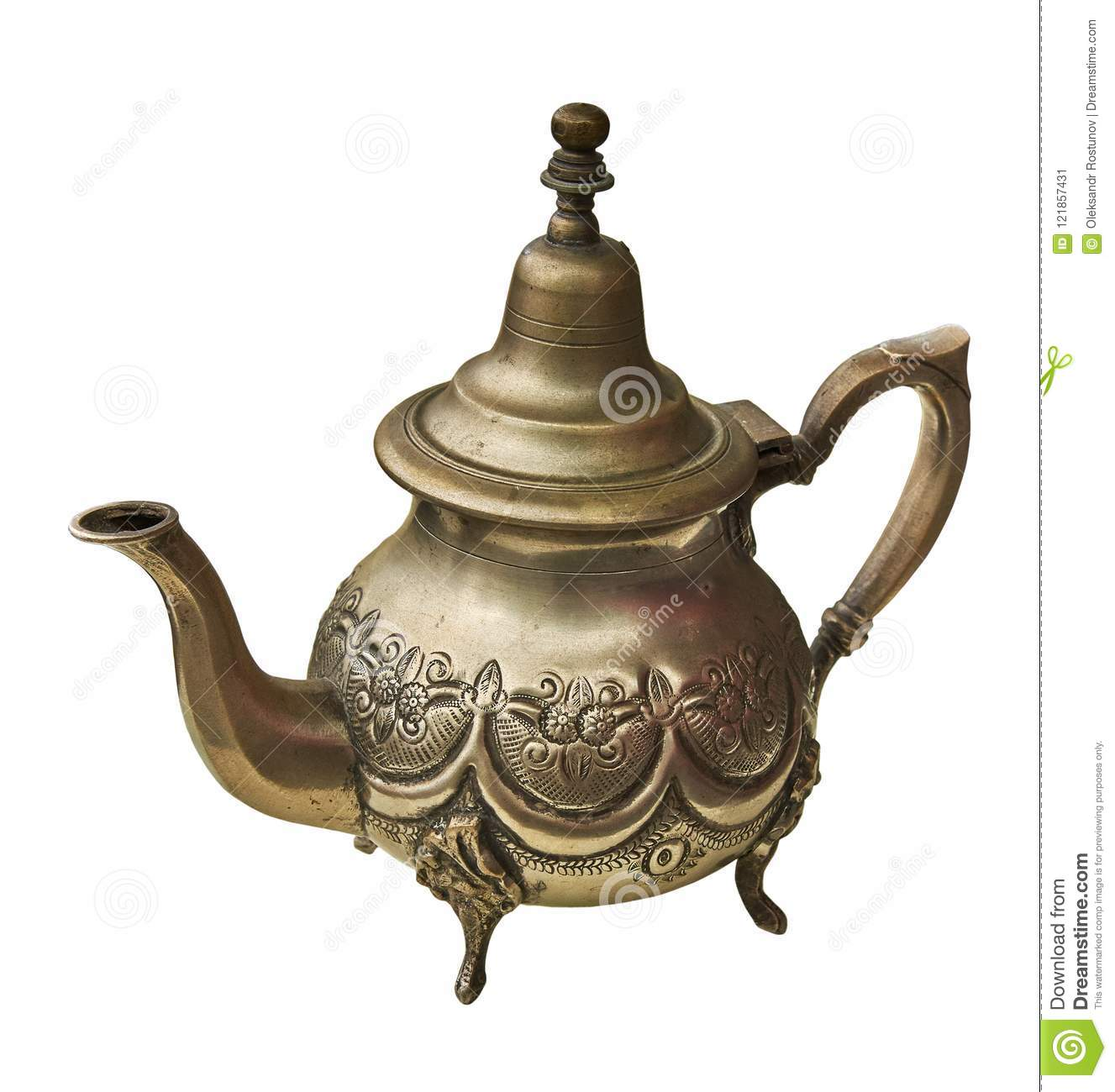 Making Tea In A Teapot Old Brass Teapot For Tea Making Stock Image Image Of