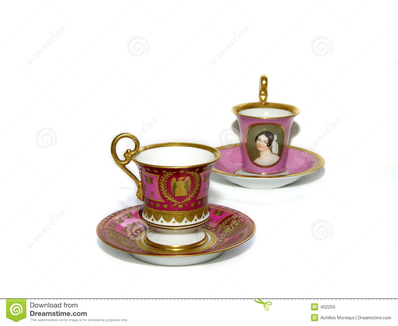 Fancy Cappuccino Cups Old Coffee Cups And Saucers Stock Image Image Of Antique