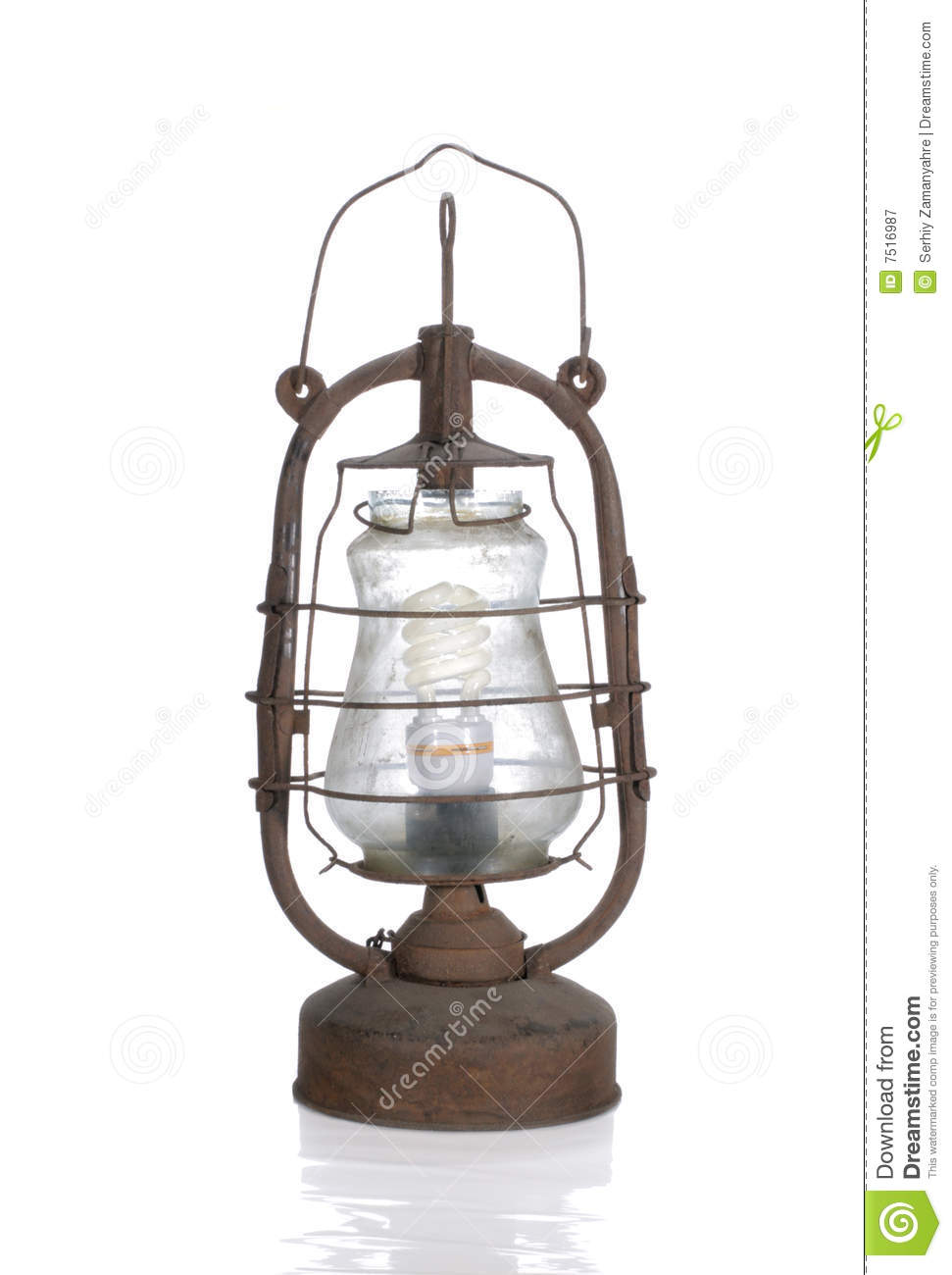 Modern Kerosene Lamp The Old Dirty Kerosene Lamp With Modern Bulb Stock Image Image