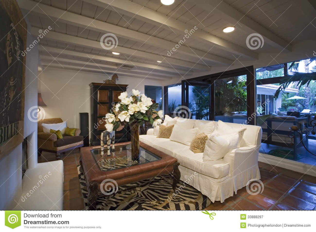 Old Fashioned Living Room In House Stock Image