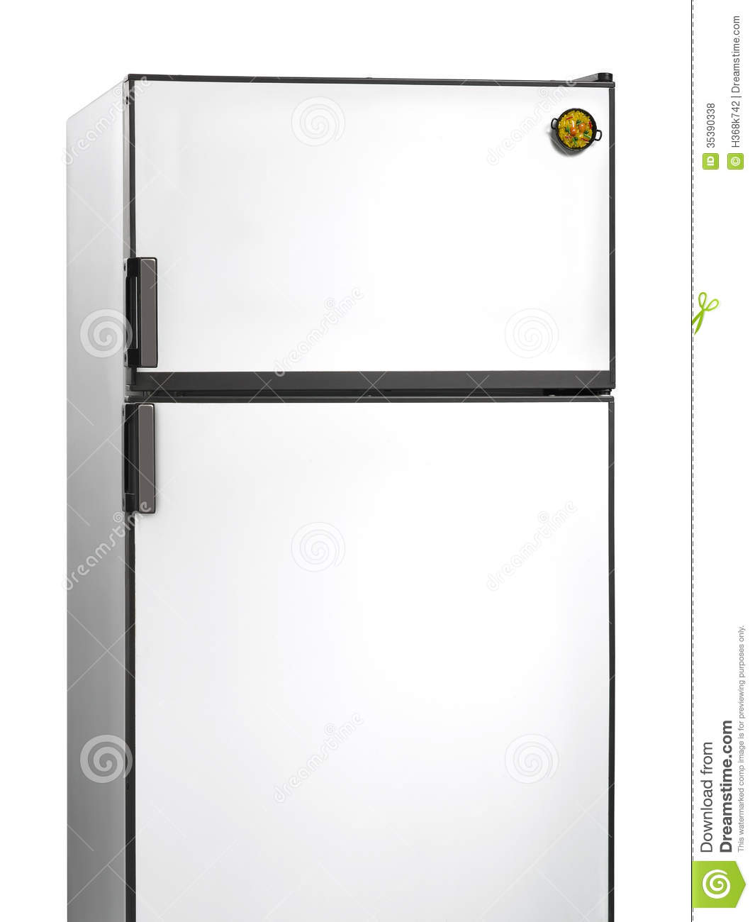Yellow Fridge Freezer Old Fridge With Paella Plastic Magnet Stock Photo Image