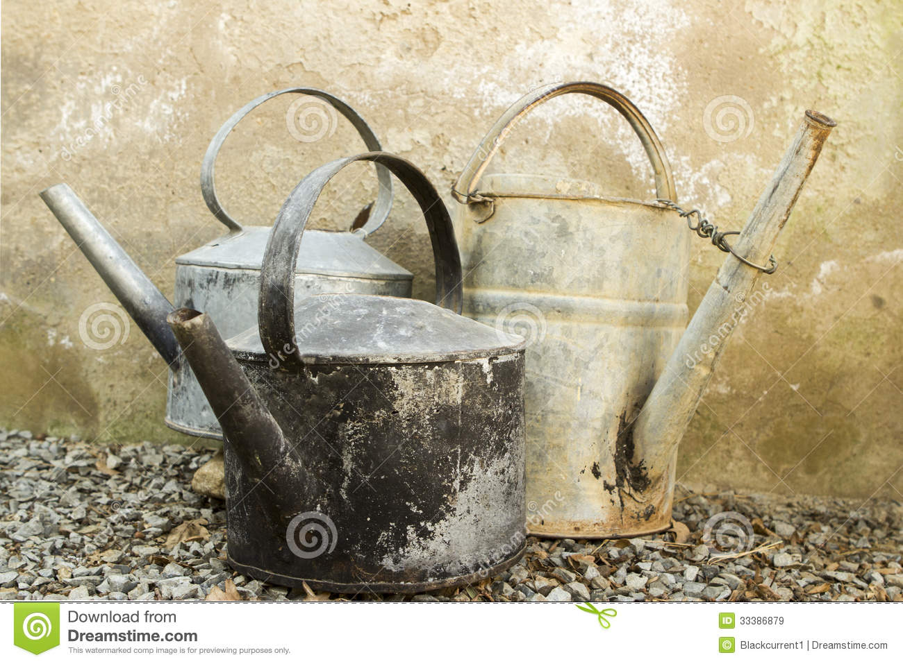 Watering Cans With Long Spouts Old Galvanised Kettles And Watering Can Royalty Free Stock
