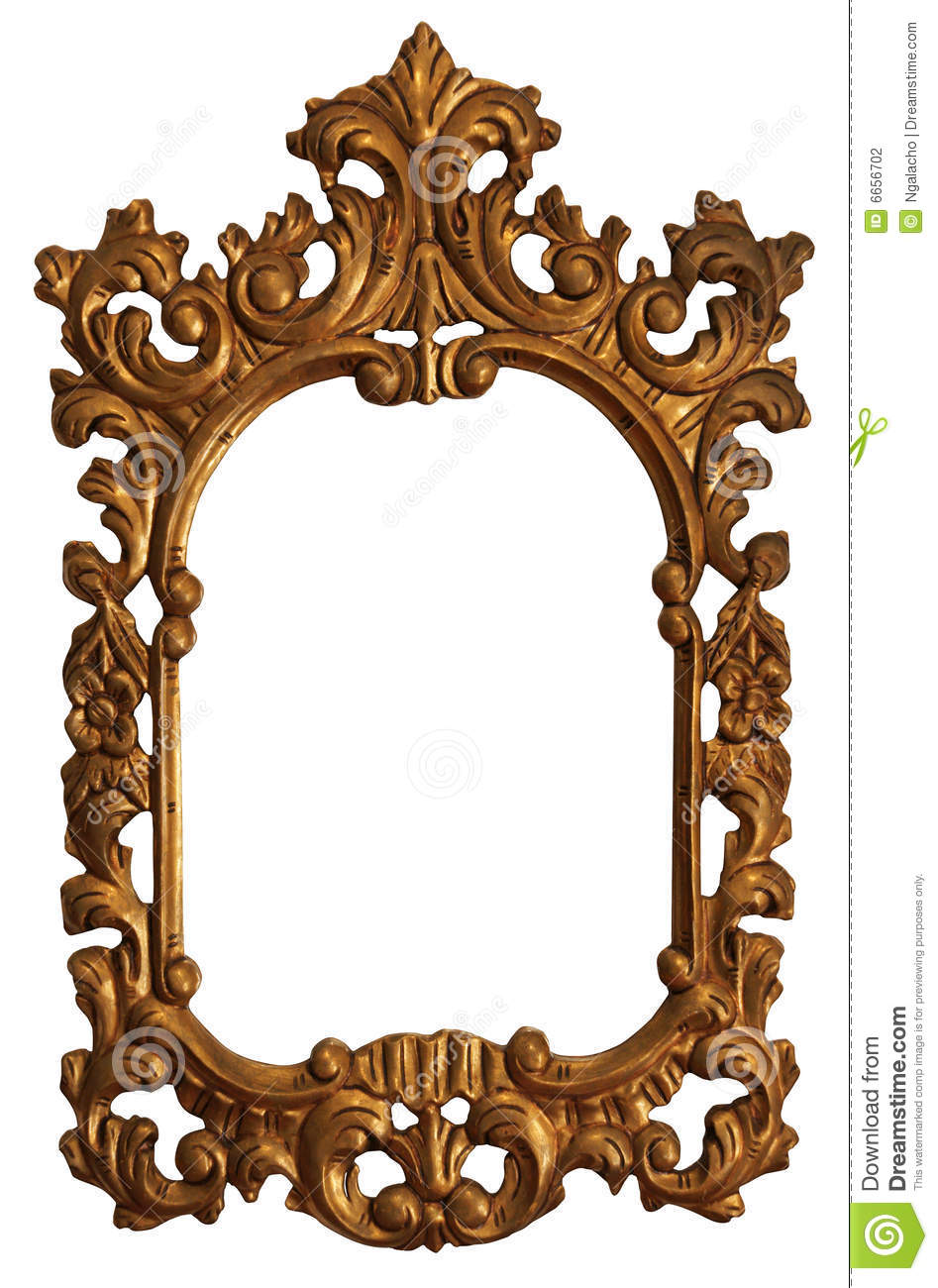 Spiegel Vintage Klein Old Gold Wood Mirror Frame With Ornaments Stock Photo