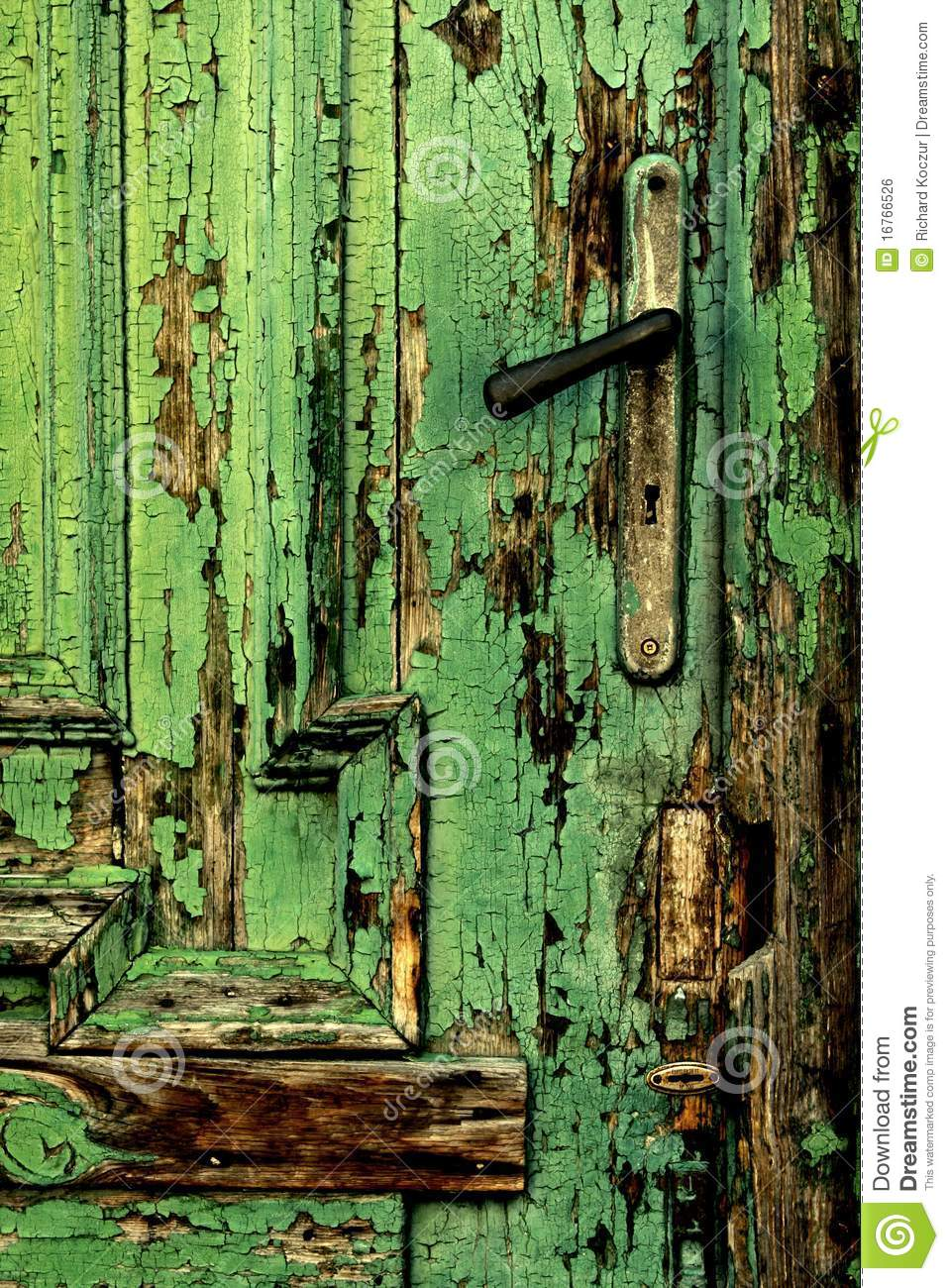 Front Gate Old Green Door Close-up With Handle Stock Photo - Image Of