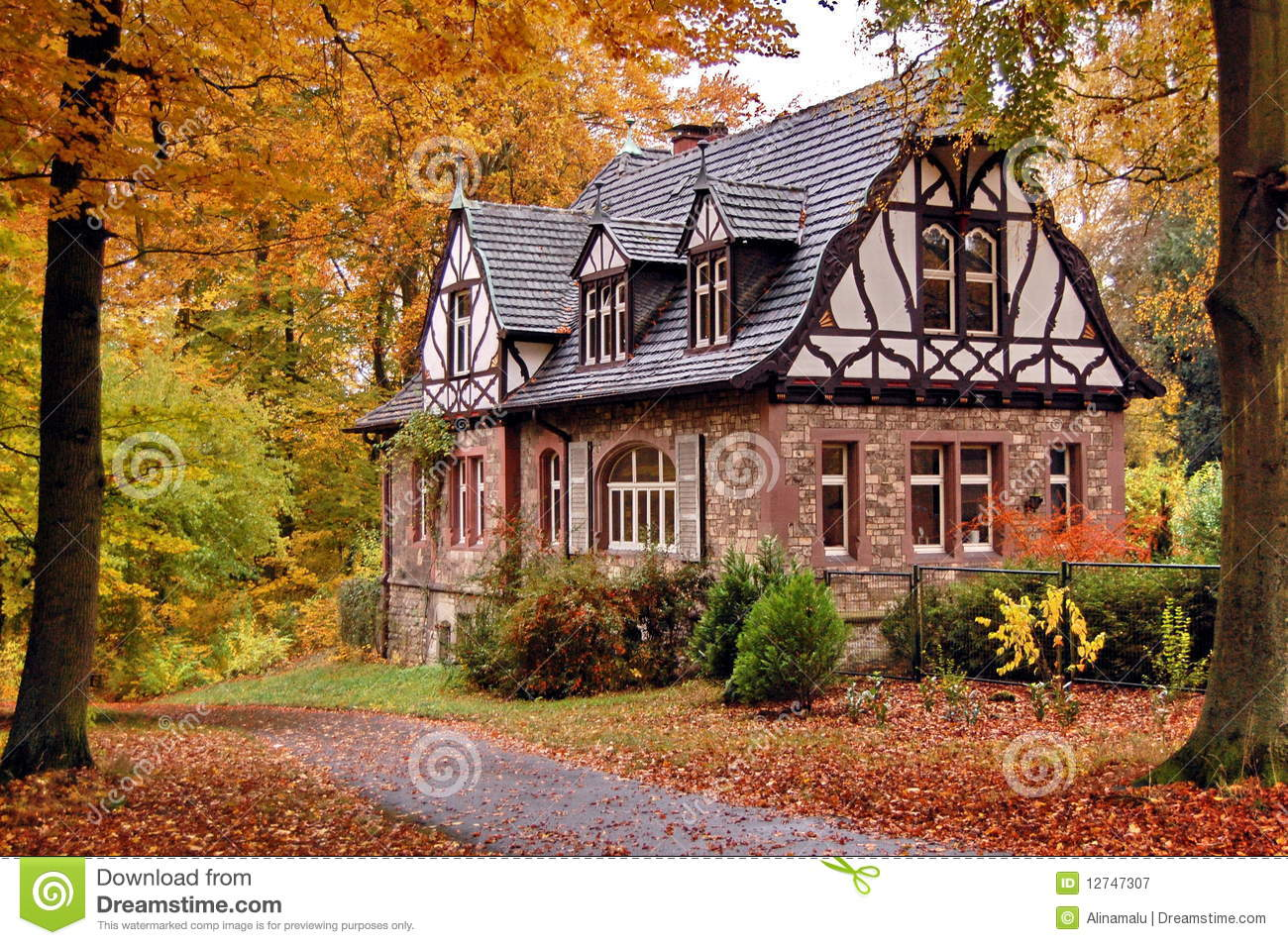 Fall Vector Wallpaper Old House In Autumn Stock Image Image Of Style Forest