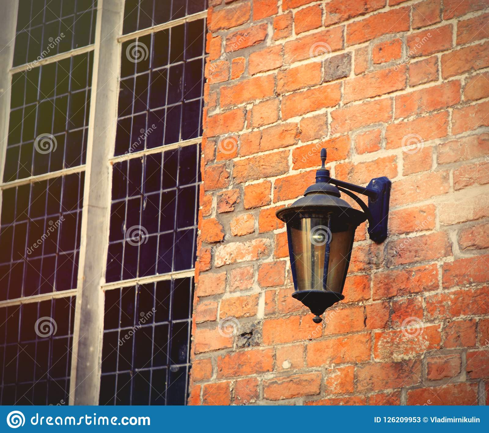 Lampen Bremen Old Lamp On Red Brick Wall Near Window Stock Image Image Of Wall