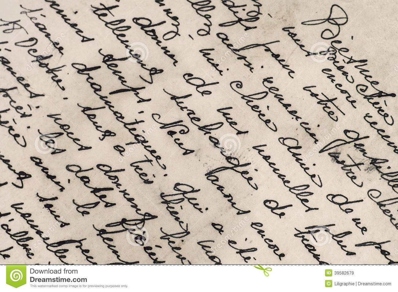 Old Letter With Handwritten French Text Stock Image