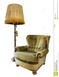 Old Luxury Armchair With Floor Lamp On White Stock Image ...