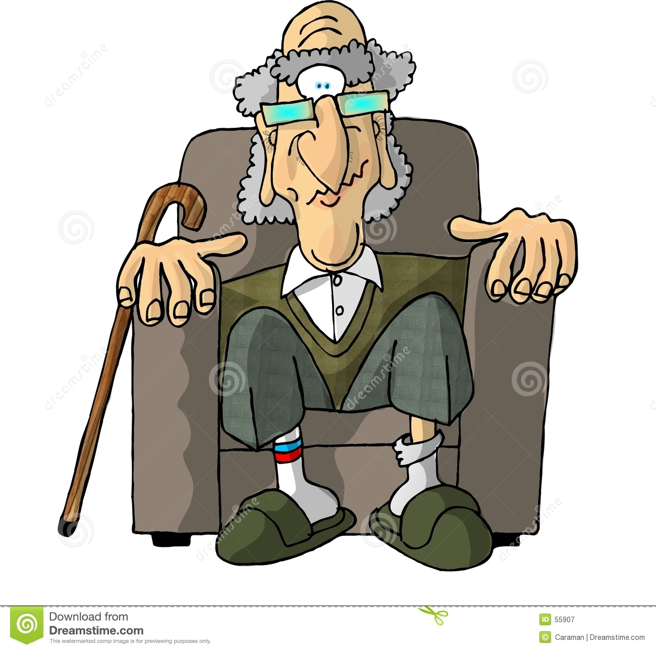 Alter Schaukelstuhl Old Man In An Easy Chair Stock Illustration. Illustration