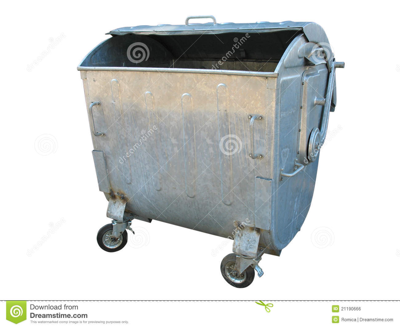 Big W Rubbish Bin Old Metal Garbage Trash Container Stock Illustration