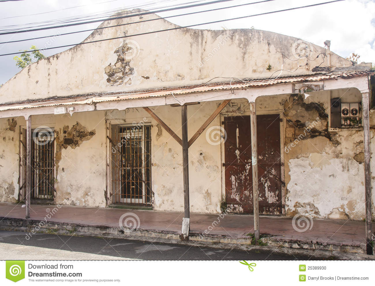 Plaster Building Old Plaster Building With Gated Doors Stock Photo Image Of Gates