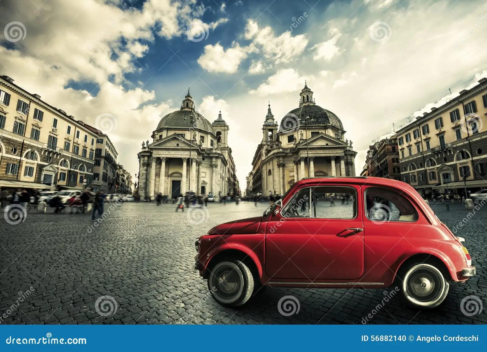 All Cars Symbols Wallpaper Old Red Vintage Car Italian Scene In The Historic Center
