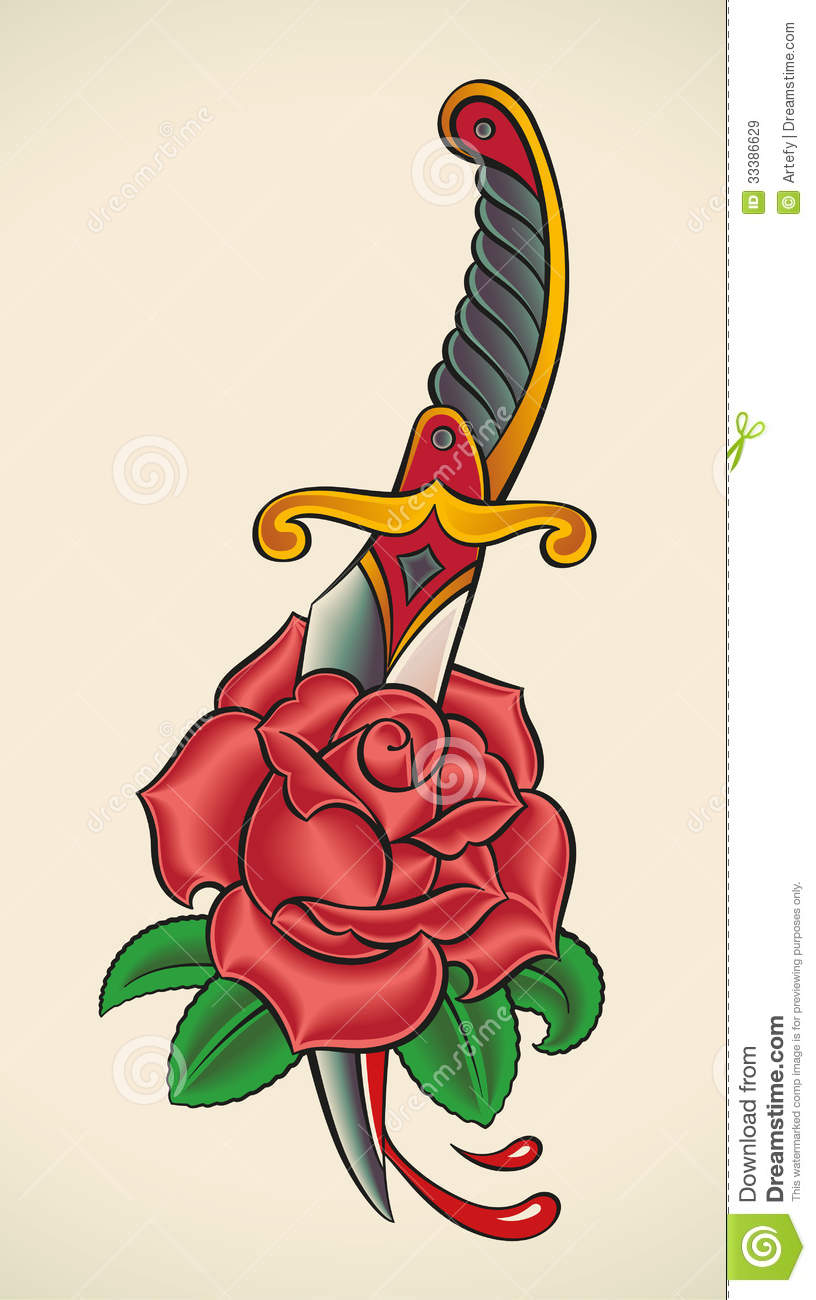 Old school tattoo dagger through rose royalty free stock