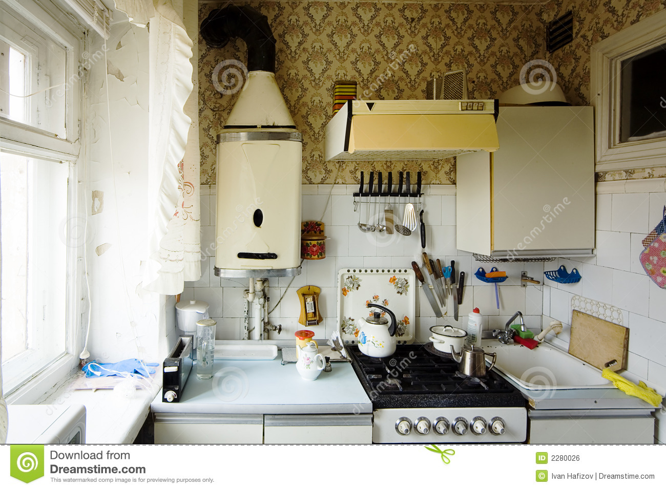 Keuken Geyser Old Small Kitchen Stock Photo 2280026 Megapixl