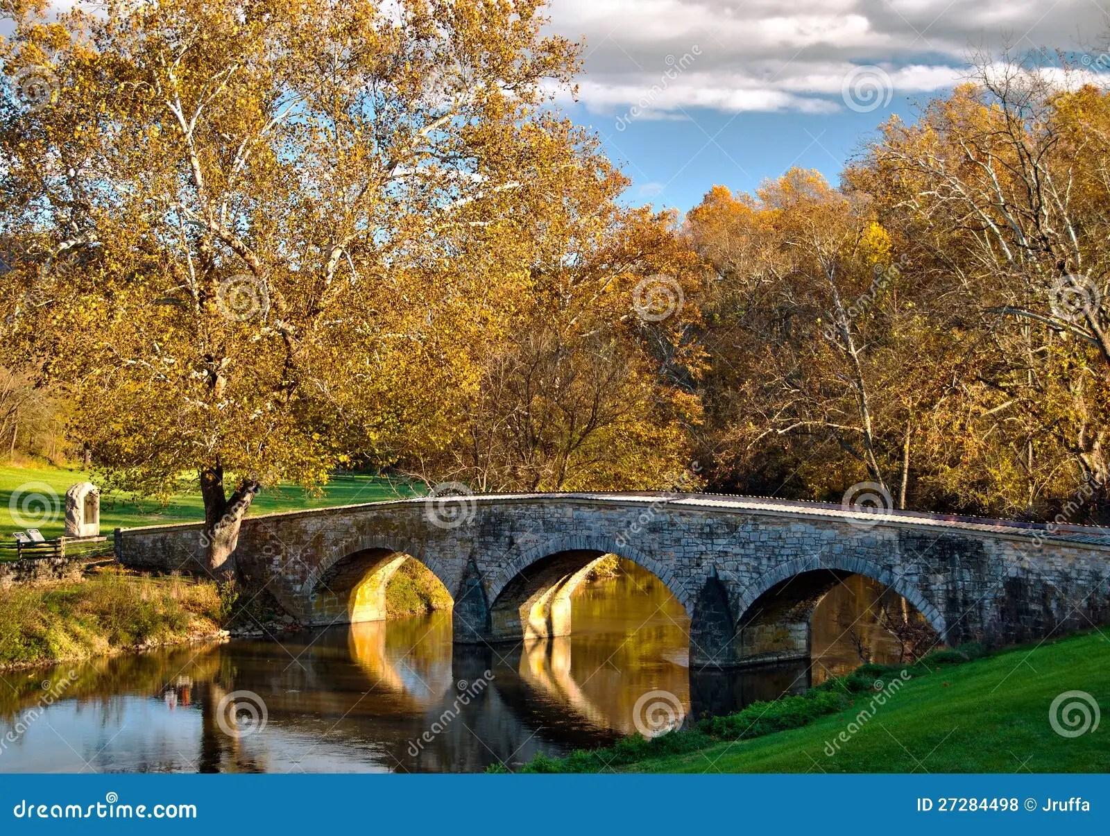 Free Wallpaper Fall Season Old Stone Bridge At Antietam National Battlefield Stock