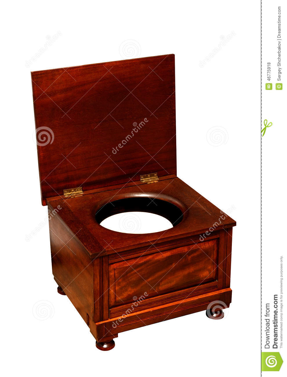 Old toilet with chamber pot an wooden chair stock photo image