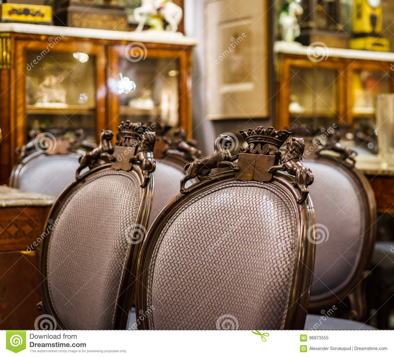Old Vintage Furniture In Antique Shop Bruxelles Stock Photo 96973555 Megapixl