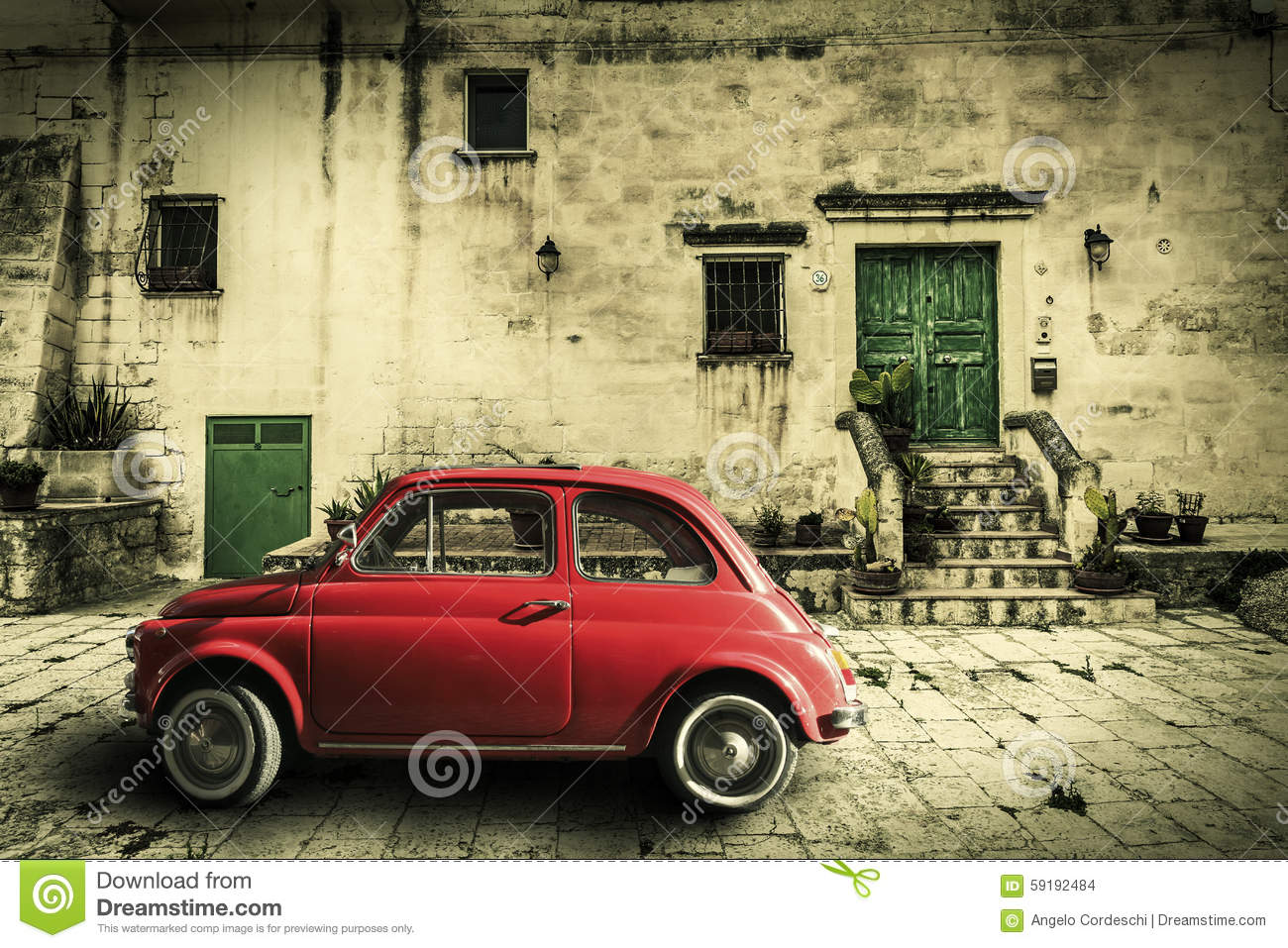 Vintage Fotos Old Vintage Italian Scene. Small Antique Red Car. Aging Effect Stock Photo 59192484 - Megapixl