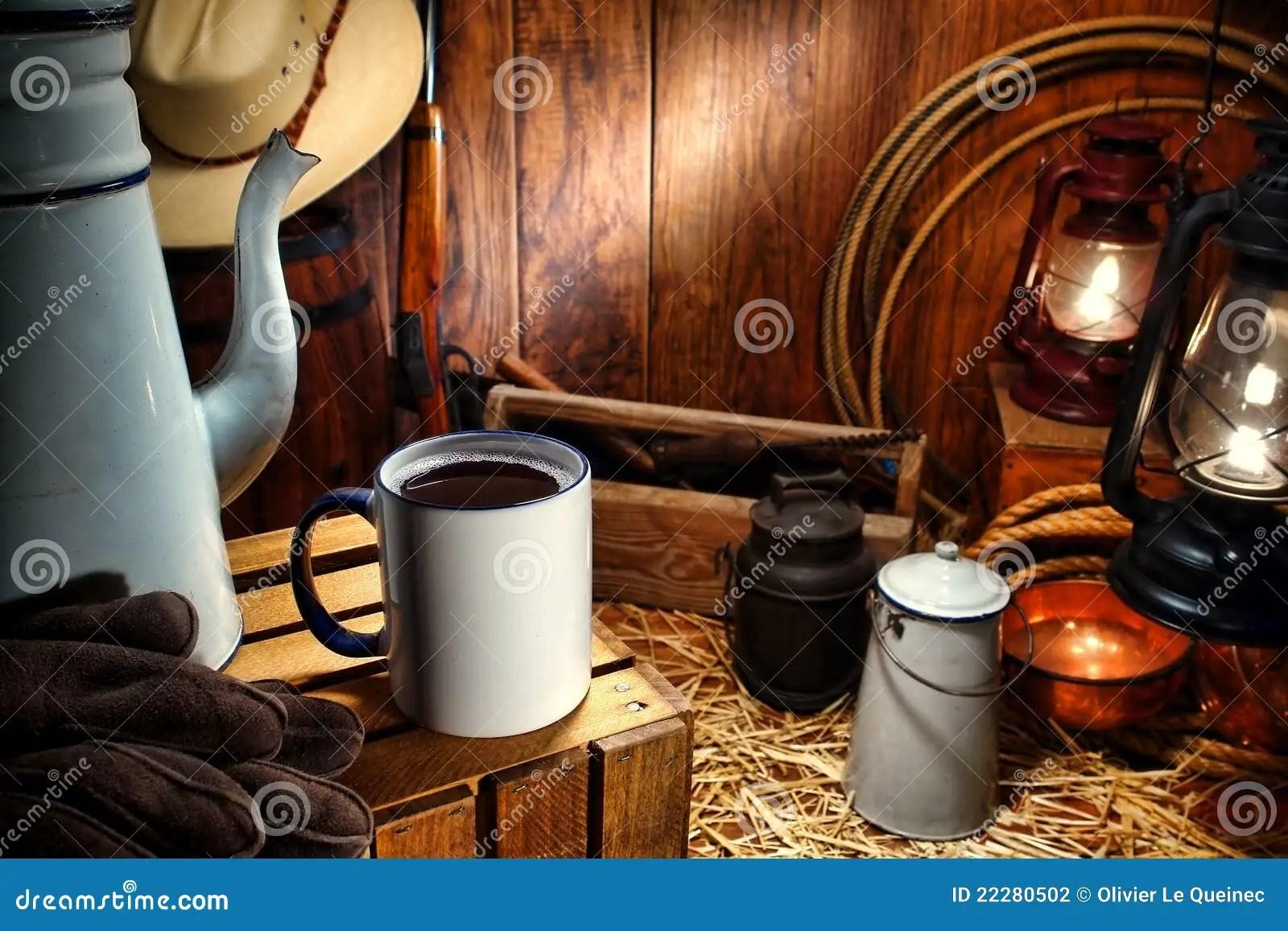 Old West Coffee Mug In Antique Western Chuck Wagon Stock