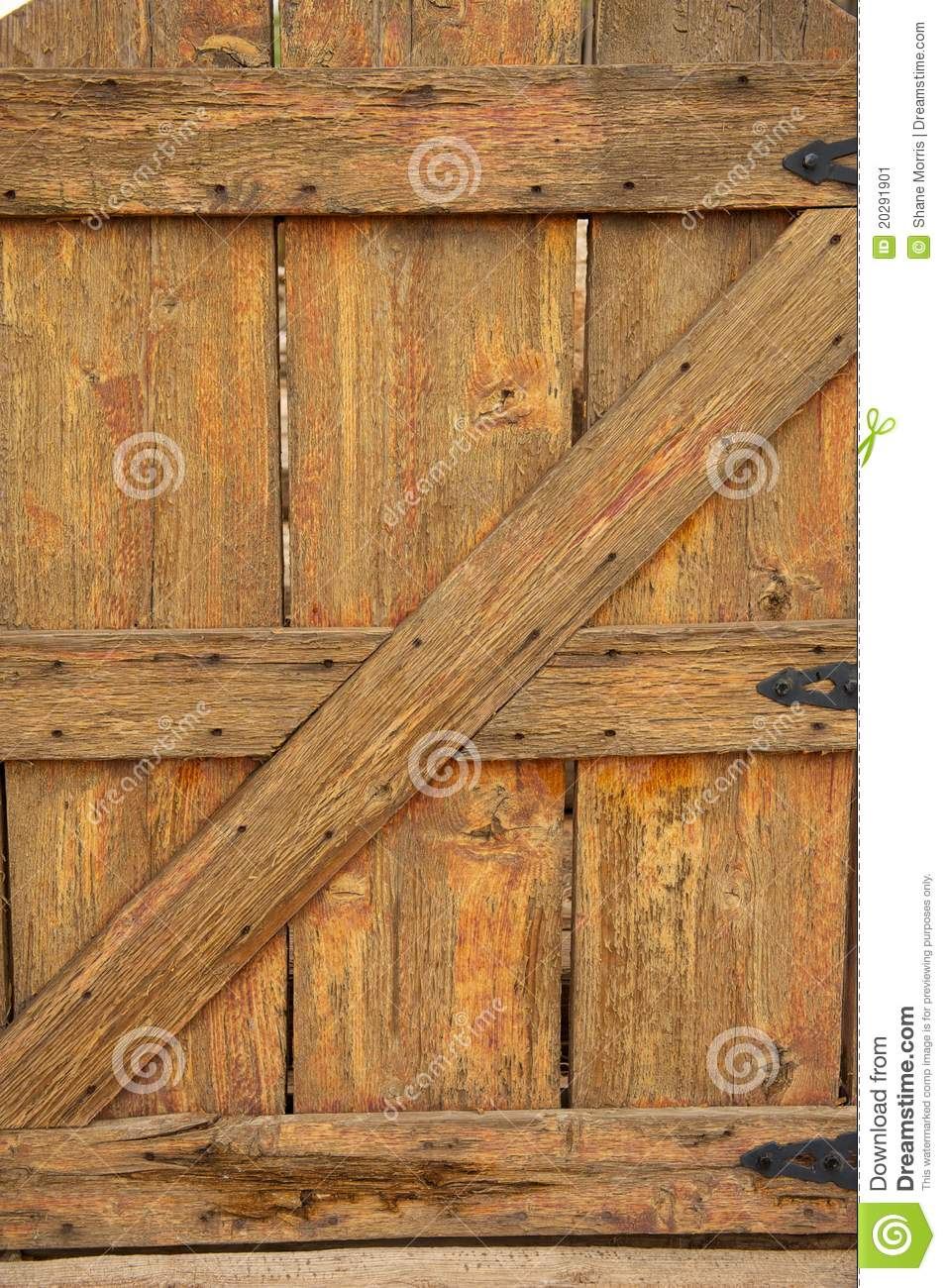 Poort Scharnieren Old Wooden Gate With Black Hinges Stock Image - Image Of