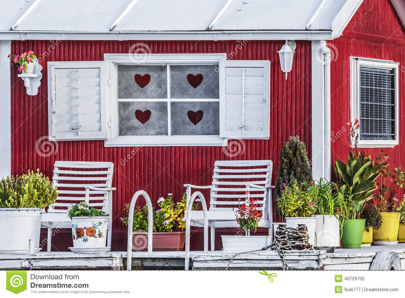 Old Wooden Red White Painted Stock Photo Image Of Ladder Porch 40729702