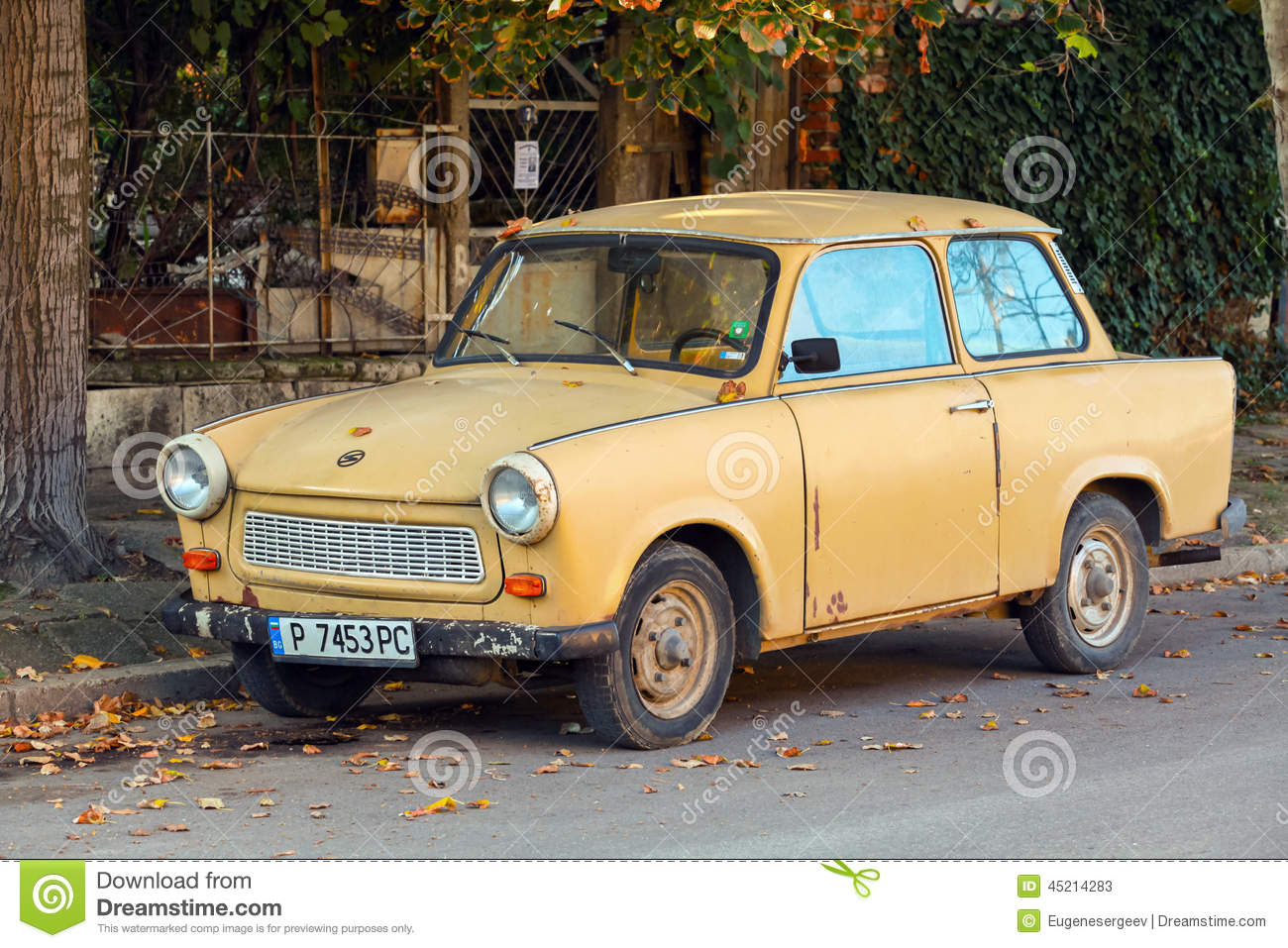 Trabant Clipart Old Yellow Trabant 601s Car Stands Parked On A Street Side