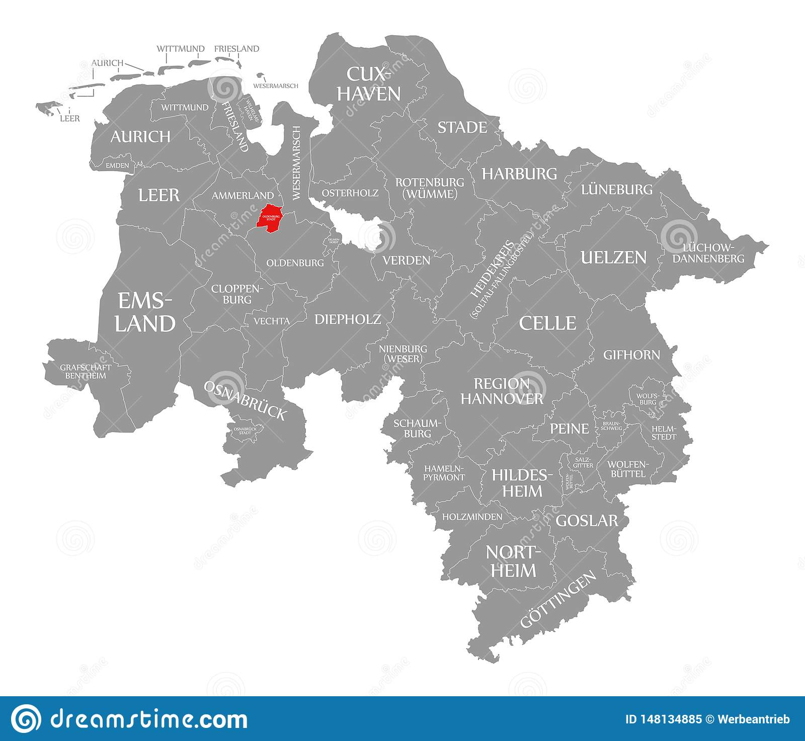 Maps Oldenburg Oldenburg City County Red Highlighted In Map Of Lower Saxony Germany