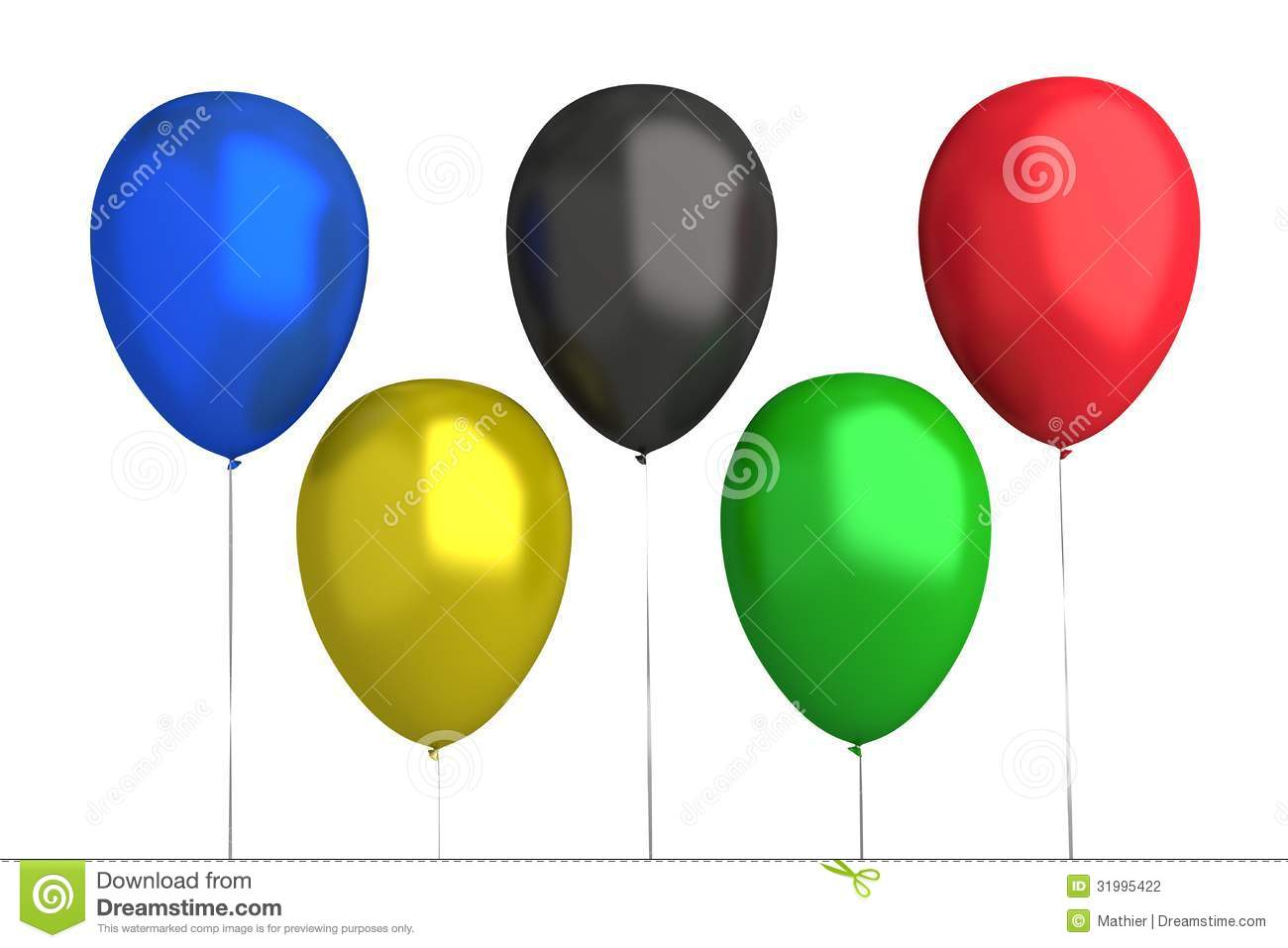 Olympic Games Balloons 5 Colors Stock Photo
