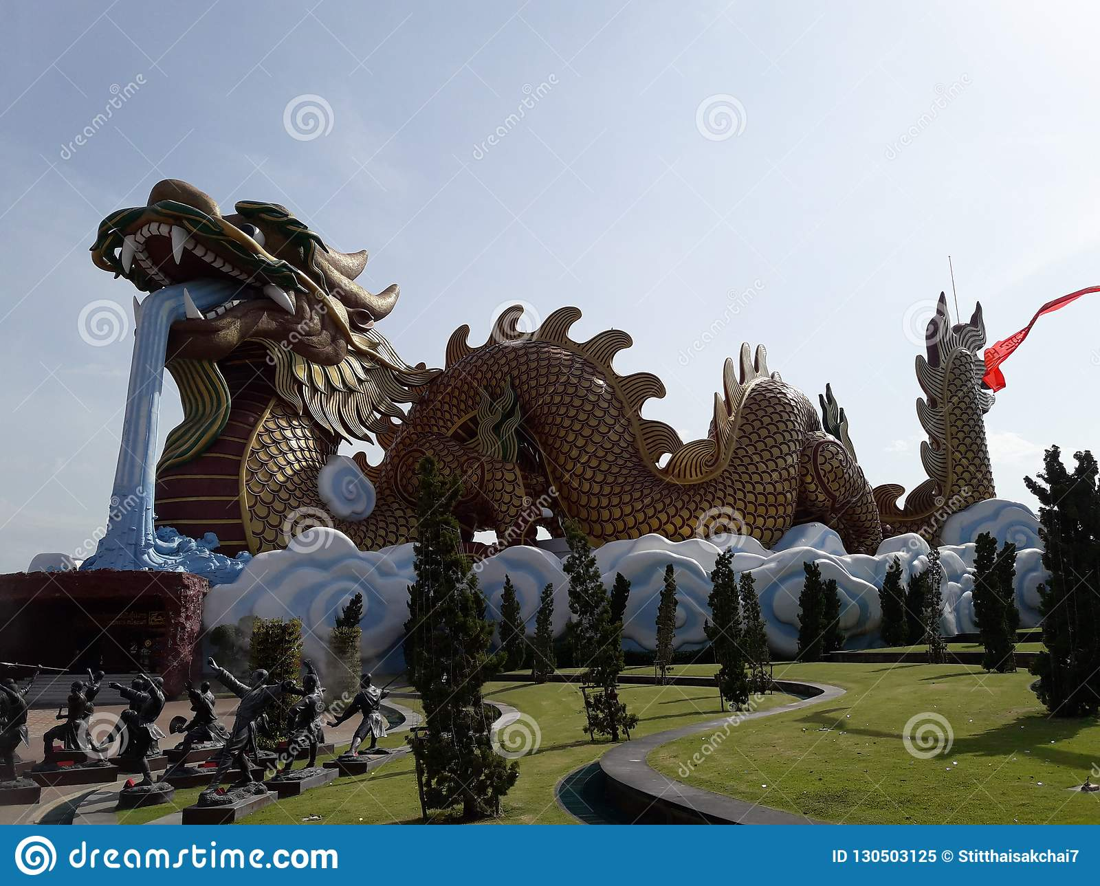 Giant Dragon Statue The Giant Dragon In Suphanburi Thailand Stock Image Image Of