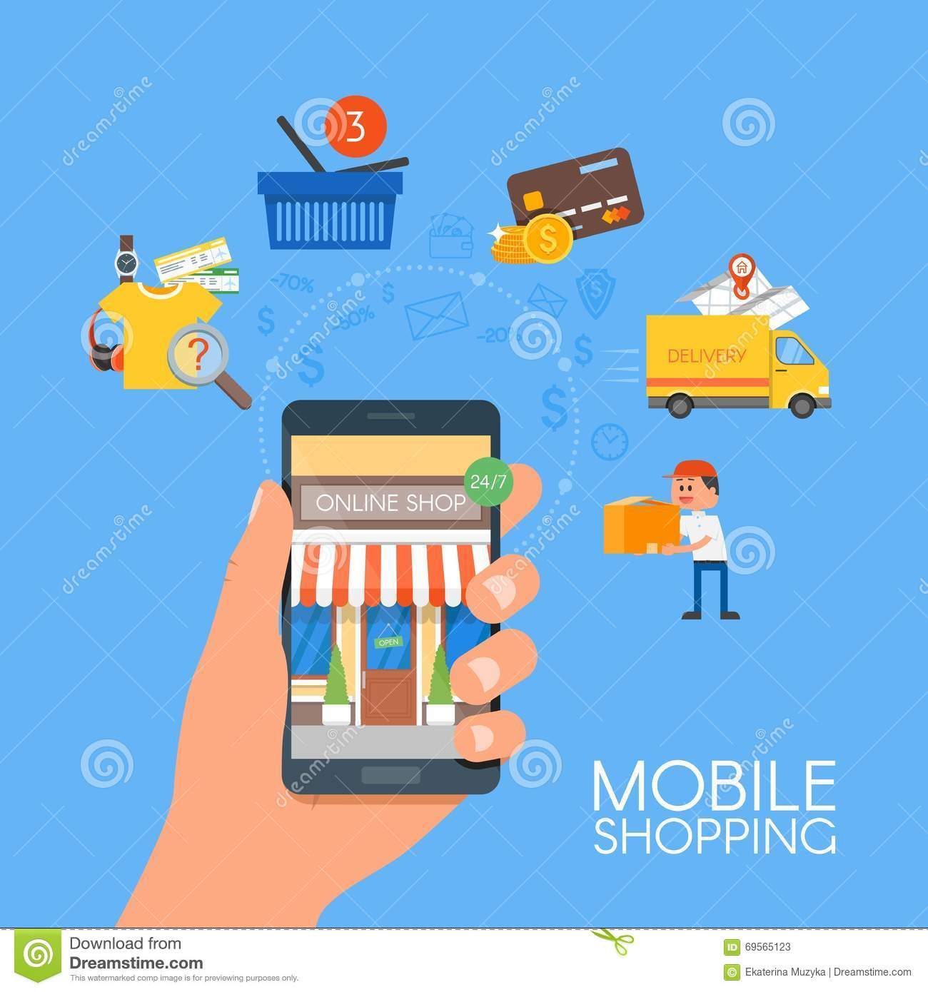 Online Shopping Mode Of Payment Online Mobile Shopping Concept Vector Illustration In