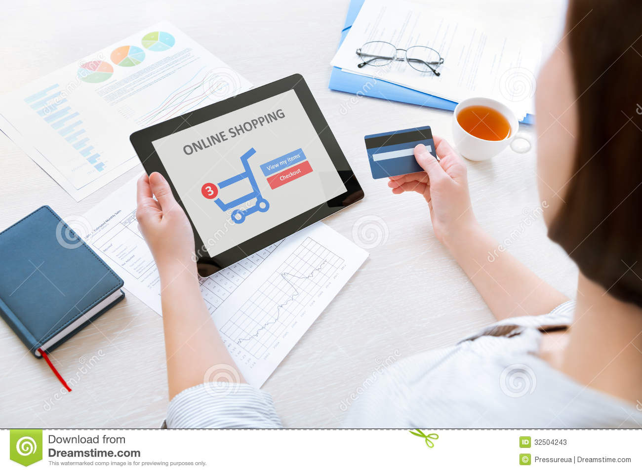 Online Picture Online Shopping With Digital Tablet Stock Image Image Of