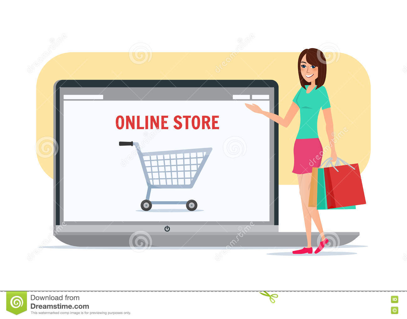 Online Picture Online Shopping Girl Business Cartoon Concept Vector