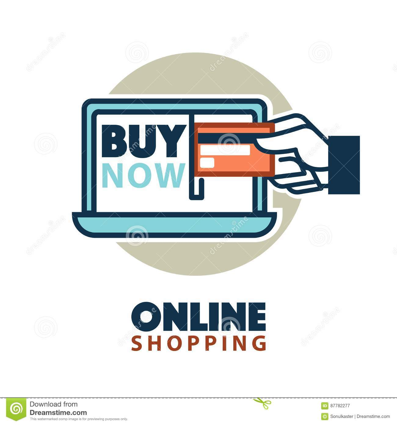 In Shop Online Store Online Shopping Web Icon Template Vector Computer Credit Card