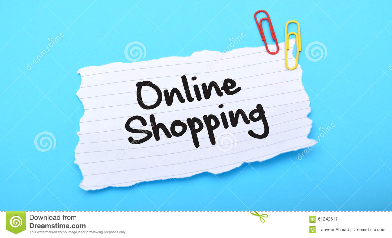 Online Picture Online Shopping Written On Paper With Blue Background