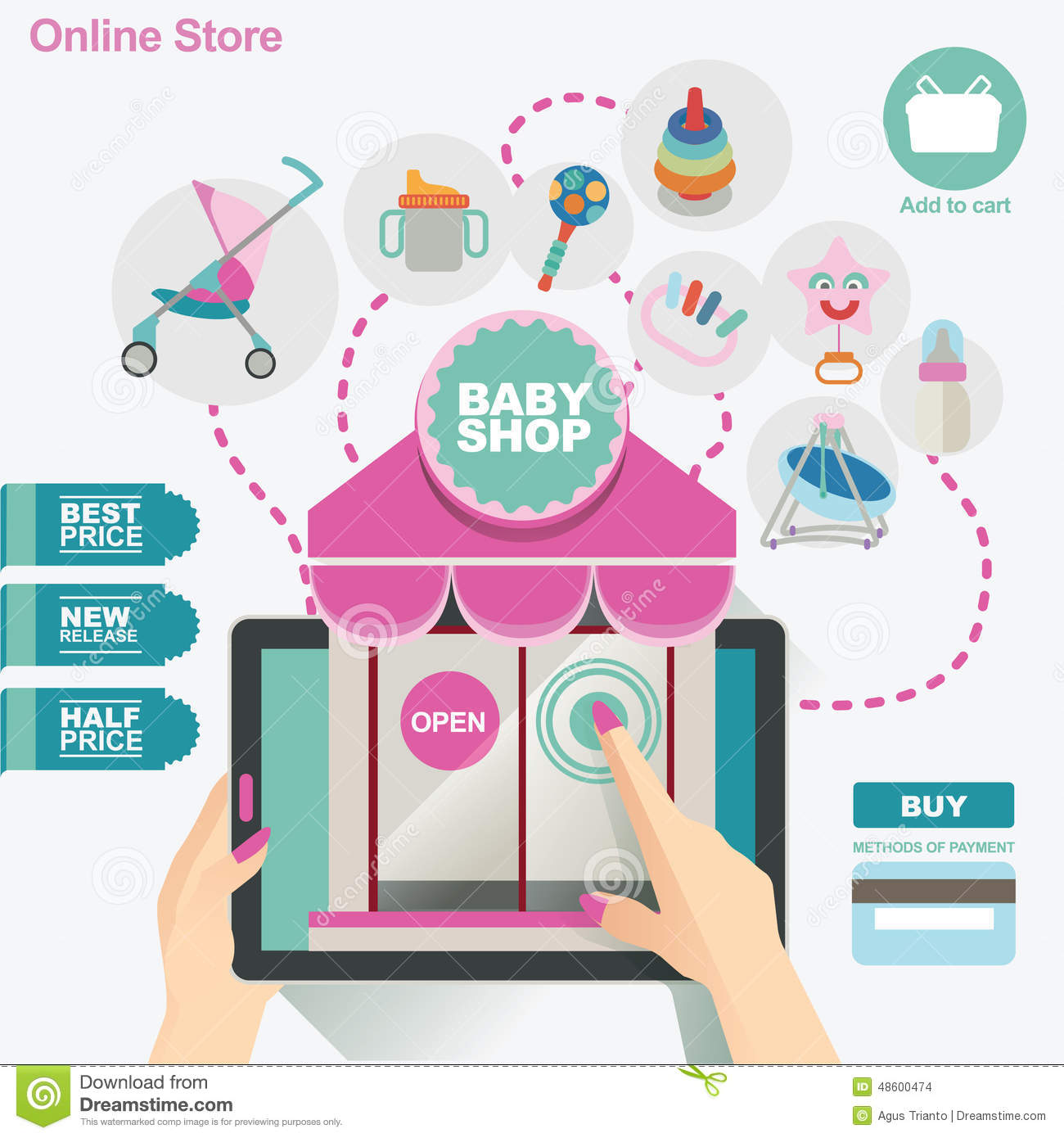 Baby Baby Online Online Store Banner And Icon For Baby Shop Tool Stock