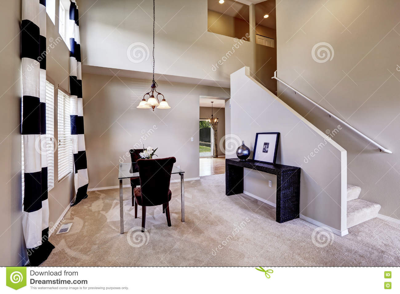 Dining Room Carpet Open Floor Plan Dining Room With Carpet Floor Stock Image Image